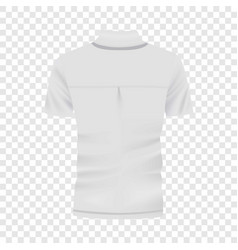 Back of white polo shirt mockup realistic style vector