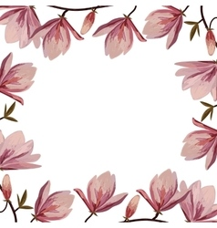 Beautiful frame with pink magnolia flowers vector image vector image