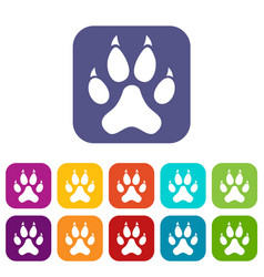 Cat paw icons set flat vector