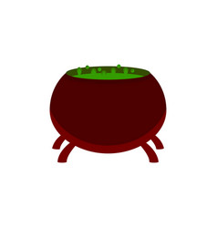 cauldron with potion and bubbles isolated on vector image