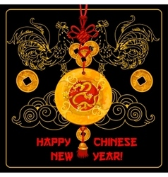 Chinese new year greeting card with knot ornament vector
