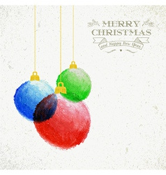 Christmas oil pastel baubles hand drawn vector image