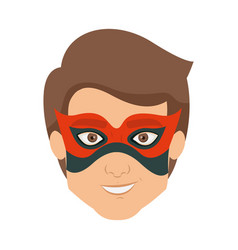 Colorful silhouette with kid superhero with mask vector