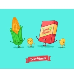 Funny cartoon funny cornflake and corn vector