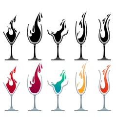 glasses with different drinks vector image vector image