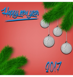 Golf balls on christmas tree branch vector