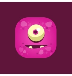 Hopeful purple monster emoji icon vector