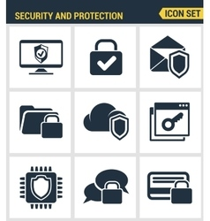 Icons set premium quality of cyber security vector