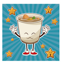 Kawaii soup ramen japanese food funny character vector