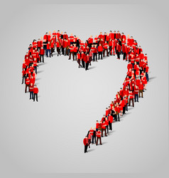 large group of people in the heart shape vector image