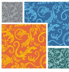 Lizards - seamless pattern set vector image