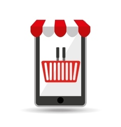 online shopping red basket design vector image vector image