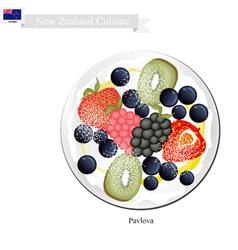 Pavlova meringue cake with berry new zealand vector