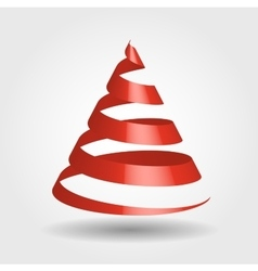 Red ribbon in a shape of Christmas tree vector image