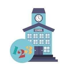 School building with education icon vector