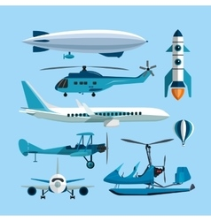 Set of flying transportation objects hot vector