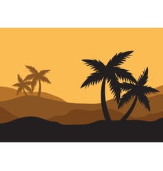 Silhouettes of palm in the desert vector