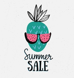 summer background with hand drawn pineapple with vector image vector image