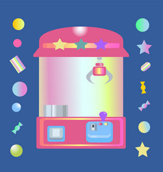 Toy claw machine with sweets vector