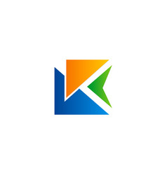 triangle letter k abstract colored logo vector image vector image