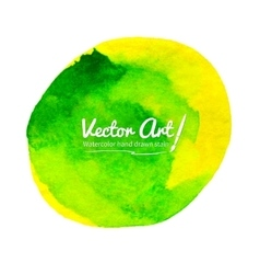 Watercolor yellow-green circle vector image