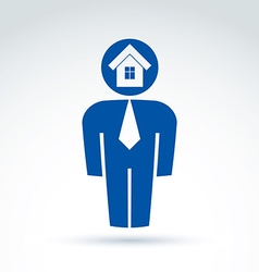 White collar office worker man icon with house vector
