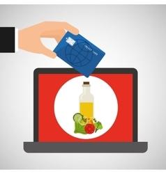 Shopping online concept order salad menu vector