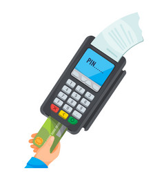 Hand taking card from dark pos terminal with white vector