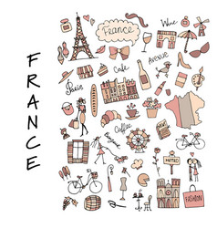 France icons collection sketch for your design vector