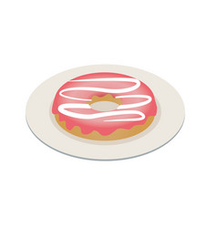 one vanilla glazed donut pastry topping isometric vector image
