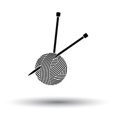Yarn ball with knitting needles icon vector