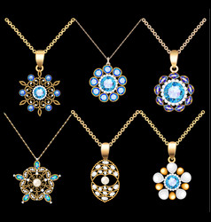 set of jewelry vintage pendants ornament made of vector image