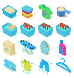 Laundry icons set isometric style vector