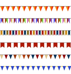 Set of christmas festive flags on ropes vector
