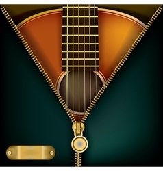 Abstract music green background with guitar and vector