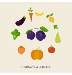 Set of fresh healthy vegetables and fruits made in vector