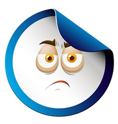 Sad face on sticker vector