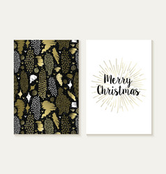 Merry christmas card set retro tribal gold pattern vector
