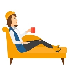 Woman lying with cup of tea vector