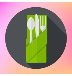 Cutlery fork knife spoon flat vector