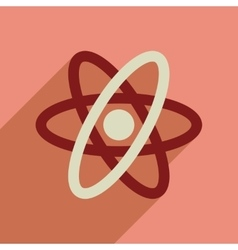 Flat web icon with long shadow atom vector
