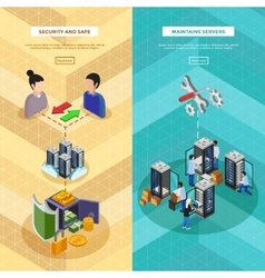 Two datacenter isometric vertical banners vector