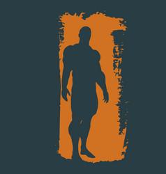 Bodybuilder silhouette sketched vector