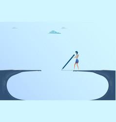Businesswoman drawing bridge walking over cliff vector