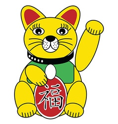 Chinese style cat with good luck sign in gold vector image