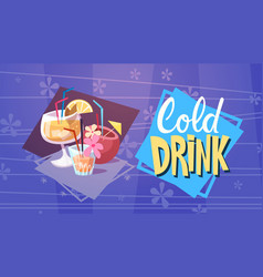 Cold drink cocktails summer time vacation sea vector