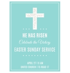 Cross and flowers easter sunday service poster vector