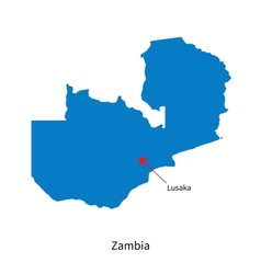 Detailed map of Zambia and capital city Lusaka vector image vector image