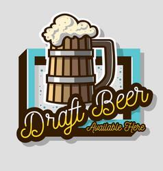 Draft beer wooden mug or a tankard of beer with vector