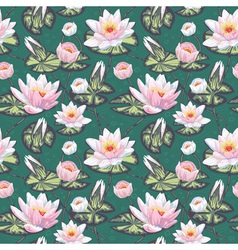 Elegant floral seamless pattern with water lily vector image